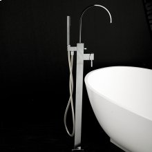 "Floor-standing single-hole tub filler with one lever handle, two-way diverter, and hand-held shower with 59"" flexible hose."