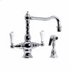 Highlands - T-Body Kitchen Faucet with Side Spray - Unlacquered Brass