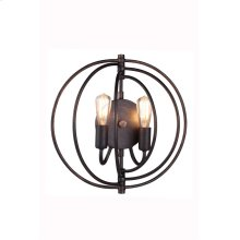 "1453 Vienna Collection Wall Lamp W:13"" H:13"" E:6"" Lt:2 Dark Bronze Finish"