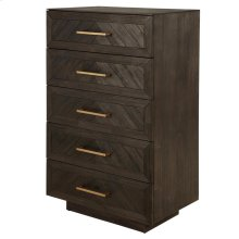 Wellington Herringbone Chest 5 Drawers, Thames Dark Brown
