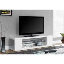 """TV STAND - 60""""L / HIGH GLOSSY WHITE WITH TEMPERED GLASS"""