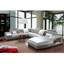Divani Casa Charlie Modern Light Grey & White Leather Sectional Sofa & Ottoman