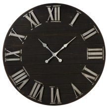 Black Shiplap Wall Clock with Raised Galvanized Numbers