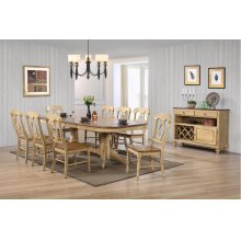DLU-BR4296-C50-SRPW10PC  10 Piece Double Pedestal Extendable Dining Set with Server