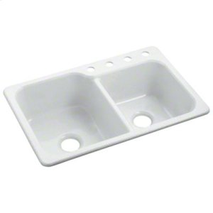 "Maxeen® Double-basin Kitchen Sink, 33"" x 22"" - White Product Image"