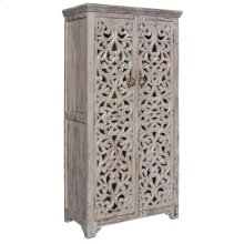 Bengal Manor Mango Wood Hand Carved Open Design 2 Door Tall Cabinet