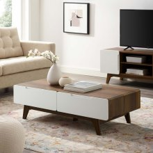 "Origin 47"" Coffee Table in Walnut White"