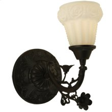 """7""""W White Puffy Rose Wall Sconce"""