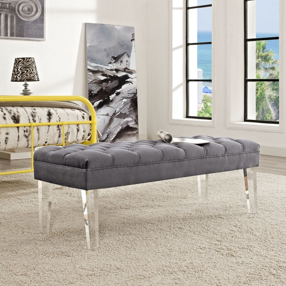 Valet Performance Velvet Bench in Gray