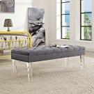 Valet Performance Velvet Bench in Gray Product Image