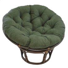 Bali 42-inch Rattan Papasan Chair with Microsuede Fabric Cushion - Walnut/Hunter Green