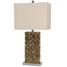 Mystic Capiz Shell & Brushed Steel Base Table Lamp with Hardback Shade