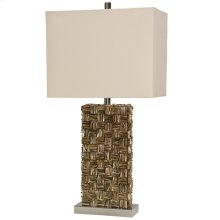 Mystic Capiz Shell & Brushed Steel Base Table Lamp with Hardback Shade
