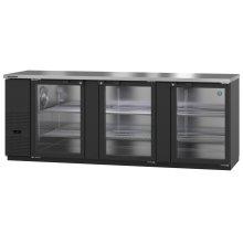 HBB-4G-LD-95, Refrigerator, Three Section, Black Vinyl Back Bar Back Bar, Glass Doors