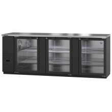 HBB-4G-LD-95, Refrigerator, Three Section, Black Vinyl Back Bar Back Bar, Glass Doors