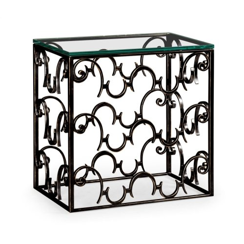Rectangular Arabesque Bronze Iron End Table with 20mm Clear Glass Top