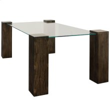 KOBE DINING TABLE- RECTANGLE  Vintage Iron Finish on Wood Legs with Floating Glass