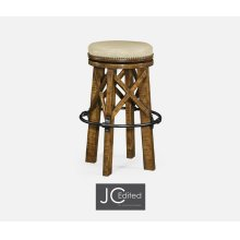 Country Style Walnut & Iron Bar Stool with Antque Chestnut Leather