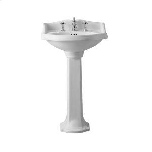 Isabella Collection small, traditional china pedestal with an integrated oval bowl, backsplash, dual soap ledges, decorative trim, and overflow. Product Image