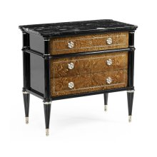 Madison Piano Black & Amber Ash Burl Nightstand with Black Silver Marble Top