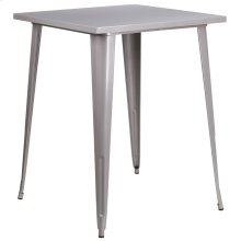 """Commercial Grade 31.5"""" Square Silver Metal Indoor-Outdoor Bar Height Table"""