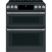 """Café 30"""" Smart Slide-In, Front-Control, Induction and Convection Double-Oven Range"""