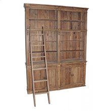 Reclaimed Pine Double Section Bookcase with Ladder