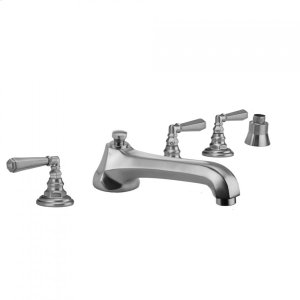 Antique Brass - Westfield Roman Tub Set with Low Spout and Hex Lever Handles and Straight Handshower Mount Product Image