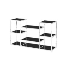 Stainless Steel Console Table, Silver/black Glass