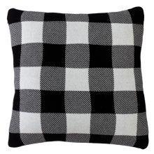Black & White Buffalo Plaid Knit Pillow