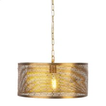 Gold Cylinder Pendant with Horizontal Cut Outs. 100W Max. Hard Wire Only.