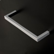 Wall-mount towel bar made of chrome plated brass.