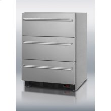 ADA compliant 3-drawer all-freezer for medical use; complete stainless steel construction for built-in or freestanding use