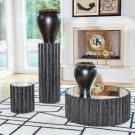 Reflective Column Side Table-Black Cerused Oak Product Image