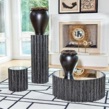 Reflective Column Side Table-Black Cerused Oak