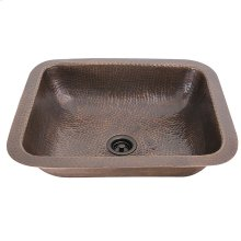 Hammered Copper Rectangle Bar Sink with Victorian Bronze Drain