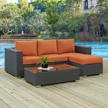 Sojourn 3 Piece Outdoor Patio Sunbrella® Sectional Set in Canvas Tuscan