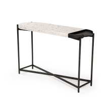 Modrest Gemini Modern White Terrazzo Concrete & Black Metal Console Table