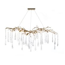 Brass and Glass Teardrop Nine-Light Chandelier