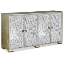 Honeycomb Mirrored Four Door Credenza  37in X 68in X 18in  Four Door Credenza