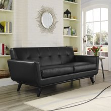 Engage Bonded Leather Loveseat in Black