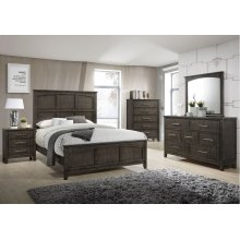 1044 Preston Greige King Bed with Dresser & Mirror