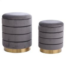 HOLLACE OTTOMAN GRAY- SET OF 2  Gray Velvet Storage Ottoman with Gold Finish on Metal Band
