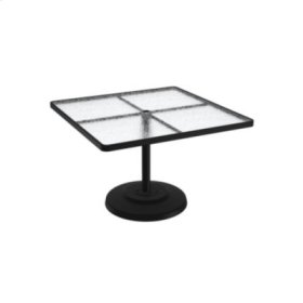 "Acrylic 42"" Square KD Pedestal Dining Umbrella Table"