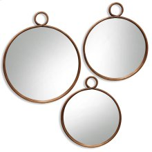 Round Bronze Metal Mirror Set  Large 26in X 31in Medium 22in X 26in Small 20in X 24in  Wall Mirror