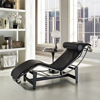 Charles Leather Chaise Lounge in Black