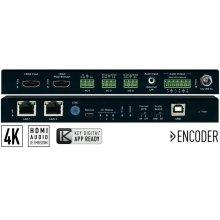 4K UHD AV over IP Encoder, 2 PoE ports LAN Switch, HDMI Pass-through, Audio In, Audio De-Embedding with Lip-Sync & DSP, KVM/USB