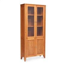 Justine Bookcase, Glass Doors on Top, Wood Doors on Bottom, 2-Adjustable Shelves