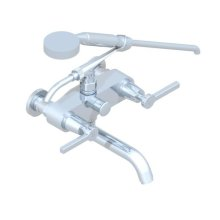 Exposed Tub Filler With Cradle Handshower, Wall Mounted