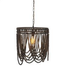 Oval Frame Black Beaded Chandelier. 60W Max. Hard Wire Only.